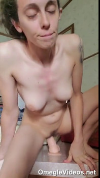 Slut rides Omegle double dildo for me at home
